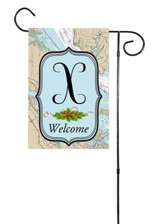 Winter Initial Nautical Garden Flag