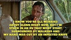 Glenn killed a walker while tied to a chair... I think he'll be fine. Rick may lose his hand, after all.