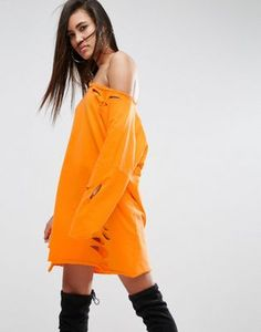 ASOS Off Shoulder Sweat Dress with Nibbles