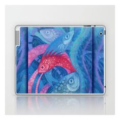 The Spawning, underwater art, pink blue fish Laptop iPad Skin (160 DKK) ❤ liked on Polyvore featuring accessories, tech accessories, fish and pastel