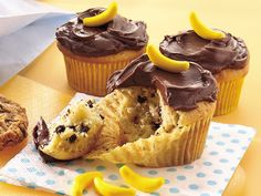 Banana-Chocolate Chip Cupcakes. Very cute. It would be fun to make these for a class and read some Curious George books.