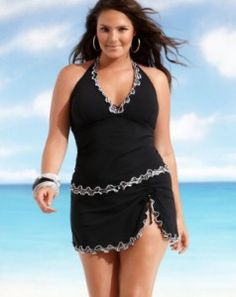 swimming suits for women with big stomachs | Profile by Gottex Plus Size Swimsuit, Waves Ruffle Tankini Top & Waves ...