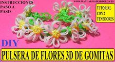 En este nuevo video os enseño como hacer unas preciosas flores 3D con dos tenedores y luego una pulsera de gomitas.