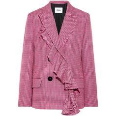 MSGM Ruffle-trimmed houndstooth wool blazer (€725) ❤ liked on Polyvore featuring outerwear, jackets, blazers, blazer, pink, purple blazer jacket, structure jacket, ruffle blazer, double breasted blazer and wool jacket