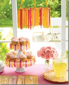 Click on pic for for DYI ribbon chandelier instructions. Fun!!