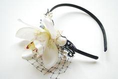 Haarschmuck & Kopfputz - Orchidee Schwarze Perle Haarreif Strandhochzeit - ein Designerstück von HansHolzkopf bei DaWanda