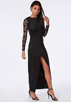 24ebb558bc Lace Sleeve Split Maxi Dress Black Formal Dresses Online