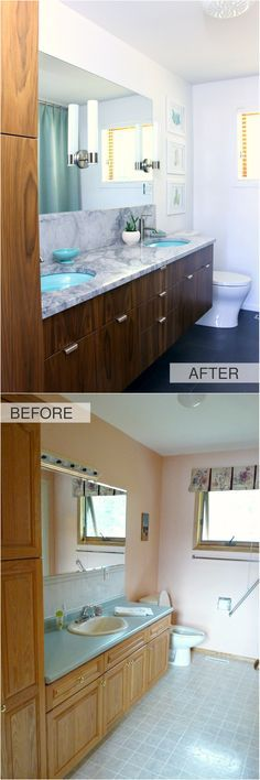 A Mid-Century Modern Inspired Bathroom Renovation - Before + After