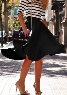 "howtoboho: ""Black High Waist Flare Skirt by Romwe http://www.shopstyle.com/action/loadRetailerProductPage?id=484560849&pid=uid881-31150641-73 """