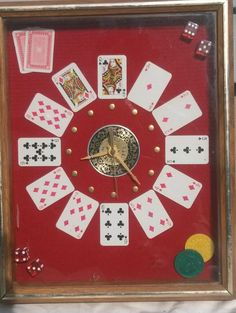 Vintage Wall Clock Poker Game Room man cave Casino Cards Dice Heritage int'l