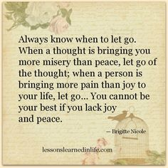 Always know when to let go. When a thought is bringing you more misery than peace, let go of the thought; when a person is bringing more pain than joy to your life, let go... You cannot be your best if you lack joy and peace.