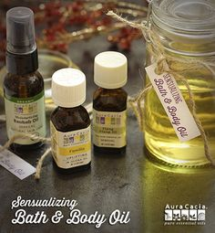 Sensualizing Bath & Body OilIngredients 1 ounce baobab oil 4 ounces grapeseed oil 24 drops Vanilla Precious Essential™ 6 drops ylang ylang essential oil