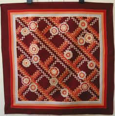 Vintage 1970s Burgundy, Red & Peach Geometric Design Printed Scarf Clifford Bond