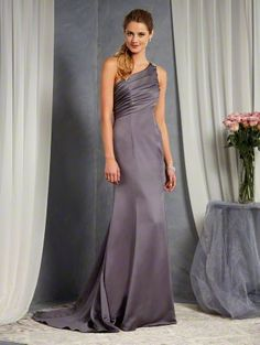 Alfred Angelo Style 7379L: one shoulder long floor length bridesmaid dress accented with a beaded motif on the shoulder