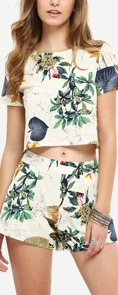Multicolor Short Sleeve Top With Shorts Suits