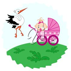 Baby girl in a pram in the meadow and stork beside him, hand drawing vector illustration