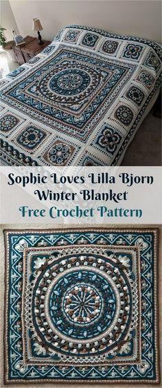 "[Free PDF Pattern] Sophie ""Loves Lilla Bjorn"" Winter Blanket #crochet #homedecor #crochetpattern #crochetlove"