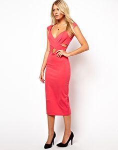Image 1 of Love Body-Conscious Midi Dress with Wrap Front