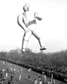 The Tin Man flies high in the 1939 Macy's Thanksgiving Day parade. New York City