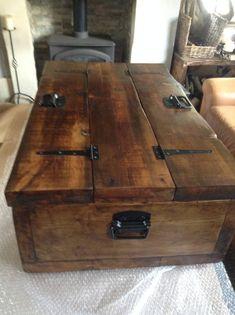 Rustic Coffee Tables, Diy Coffee Table, Coffee Table With Storage, Rustic Table, Diy Table, Trunk Coffee Tables, Dream Furniture, Pallet Furniture, Furniture Making