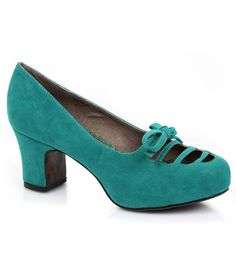 #1940s Inspired Teal Letty Kitten Heels #uniquevintage