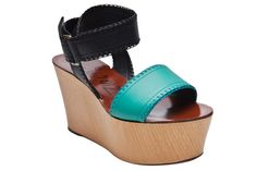Lanvin does it again. Two-Tone Wedge Sandal #spring #wedges