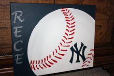 Items similar to Personalized Baseball Canvas painting Custom to your team mascot and name on Etsy Baseball Painting, Baseball Canvas, Sports Painting, Baseball Art, Diy Painting, Baseball Nursery, Painting Prints, Baseball Crafts, Wine And Canvas