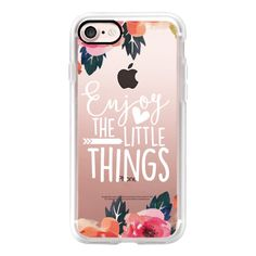 Enjoy The Little Things Watercolor Floral - iPhone 7 Case, iPhone 7... ($40) ❤ liked on Polyvore featuring accessories, tech accessories, iphone case, iphone cover case, floral iphone case, iphone hard case, apple iphone case and iphone cases