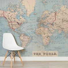 Classic world map wallpaper wall mural muralswallpaper map our world map wallpaper helps create an amazing world map mural in any room gumiabroncs Gallery