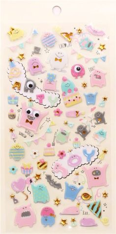 funny monster cake party hard 3D stickers by Q-Lia from Japan 3