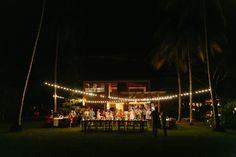 Destination Wedding Reception venue at night. Twinkling lights. Wedding planning by: Malpais Green Weddings. March House Wedding in Malpais - Costa Rica Wedding Photography   A Brit & A Blonde. http://abritandablonde.com/2014/03/30/blog/malpais-beach-wedding-at-the-march-house/