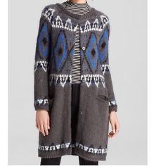 """SALE!❤️FREE PEOPLE Fair Isle Long Cardigan Sweater Gorgeous!!  New with tags. Still in manufacturer packaging. This is one of those amazing pieces that  you will invest in and wear forever!  Super soft hand knit. Long sleeves and button front. Amazing high quality!  Measures approx 35.5"""" long.  Mohair/Acrylic/Wool fabric content. Charcoal and Blue. No trades. Free People Sweaters Cardigans"""