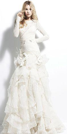 Yolan Cris 2013 Angola Striped long sleeve wedding dress