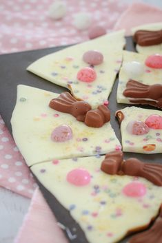 WHITE CHOCOLATE & MALTESER BUNNY BARK with mini Easter eggs... 5 minutes prep time... 4 ingredients... a totally delicious Easter treat! #easter #bark #malteser #easy #recipe #minieggs #kidsrecipes