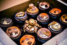 Collection of Steampunk Cupcakes - neat!  #Steampunk #Cupcakes