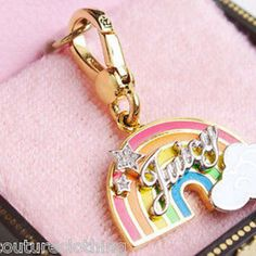 JUICY COUTURE JUICY RAINBOW GOLD TONE PAVE NECKLACE BRACELET CHARM YJRU3612