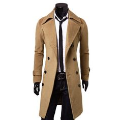 Men's Long Spring Wool Blend Tench Coats Plus Sizes Up To  XXXL Man Stylish Colors