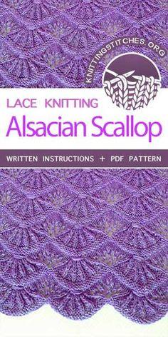 Knitting Stitches -- Alsacian Scallops Knitting Stitch. Skill Level: Intermediate. FREE tutorial for knitted Alsacian Scallops Pattern