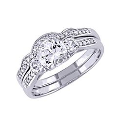 Created White Sapphire And 1/6 Ct Diamond Wedding Set Ring In 10K White Gold by JewelryHub on Opensky