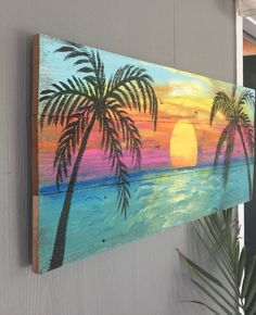 This Beach Sign is painted and ready to ship ! This sign will make a great wall hanging , creating a beach atmosphere. This sign measures 43 in x 16 1 2 in x 1 2 in .Painted on weathered rustic cedar wood. Sign is sealed after painting for inside or outs Beach Mural, Beach Wall Art, Beach Sunset Painting, Palm Tree Sunset, Ocean Sunset, Ocean Beach, Palm Trees Beach, Ocean Art, Pallet Painting
