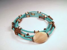 Long Bohemian Copper Mother of Pearl MOP Turquoise Glass Beaded Layering Necklace by CarmenRVT on Etsy