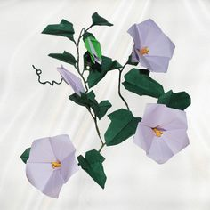 """Origami Morning Glories"" - 24 folded elements (origami flower & foliage) - Worldwide Delivery  - $49.99"