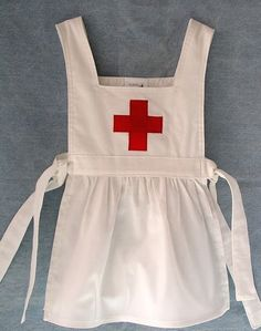 Historic Red Cross White Apron Pinafore.