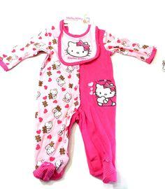 Hello Kitty Pink Coverall w/ Bib 6-9 Months Baby Girl Footsie Sleeper New  #Sanrio #NightimeEveryday