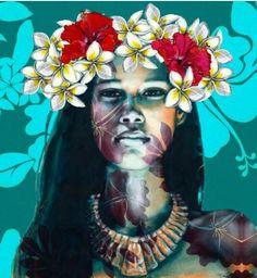 Polynesian Pop I Polynesian Art, Polynesian Culture, Zealand Tattoo, Art Alevel, Hawaiian Art, Maori Art, Tropical Art, Illustrations, Portrait Art