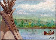 ACEO Original Oil painting Native American Indian TeePee River Conoe  Nova Hart #Realism