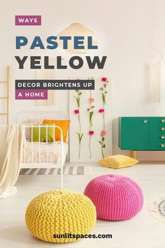 Ways Pastel Yellow Decor Brightens Up A Home – Sunlit Spaces Dyi, Diy Bedroom Decor, Diy Home Decor, Yellow Accent Chairs, Diy Spring, Yellow Front Doors, Yellow Accessories, Brick Accent Walls, Pastel Yellow