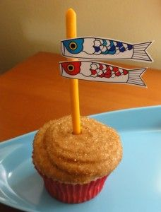 Perfect for Children's Day (Kodomo no Hi) ! Originally celebrated as Boys Day in Japan. Celebrate with a traditional carp flying kite cupcake topper. Boys Day, Child Day, Girl Day, Easy Cupcake Recipes, Real Food Recipes, Cupcake Ideas, Cupcake Toppers, Healthy Recipes, Girls Day Japan
