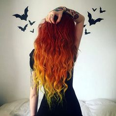 Sunset hair color DIY with extensions, love this autumn look