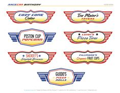 FREE Printables: Disney Pixar Cars themed birthday party printables featuring checkered patterns, lightning bolts, tire marks, flames, and car emblems! Disney Party Foods, Cars Party Foods, Disney Cars Party, Pixar Cars Birthday, Race Car Birthday, Disney Birthday, 2nd Birthday, Birthday Ideas, Disney Pixar Cars